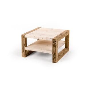Stolik drewniany z półką z jasnym blatem Antique Wood, 68x68cm