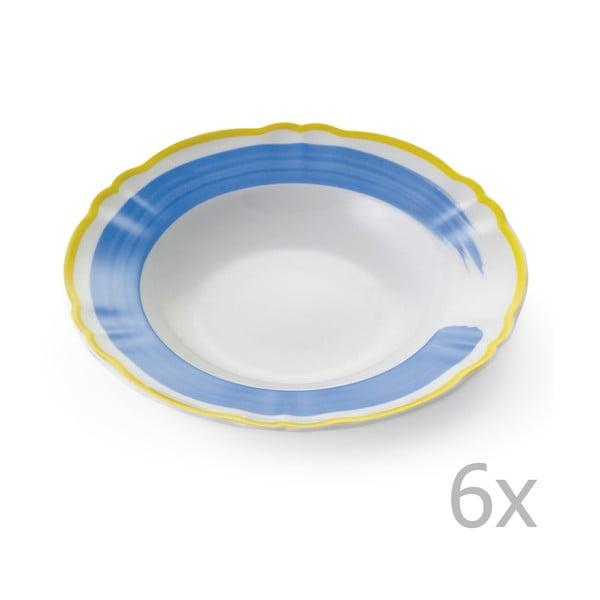 Zestaw 6 głębokich talerzy Giotto Yellow/Blue