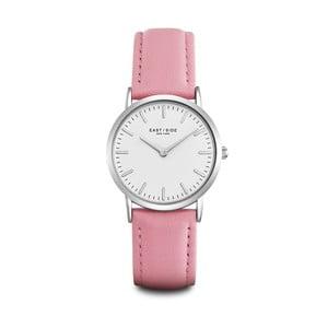 Zegarek damski z różowym skórzanym paskiem i cyferblatem w kolorze srebra Eastside East Village