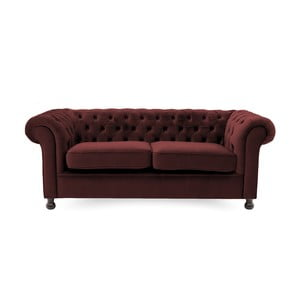 Bordowa sofa trzyosobowa Vivonita Chesterfield