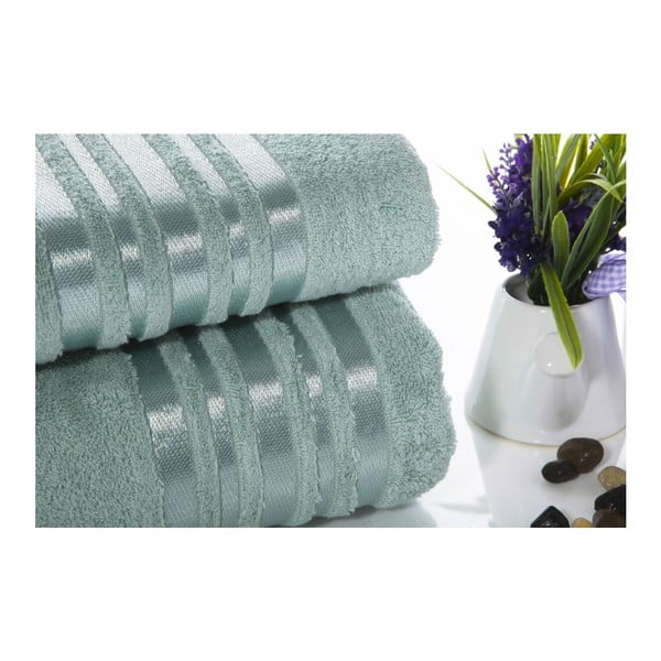 Komplet 2 miętowych ręczników z bawełny Ladik Eleanor