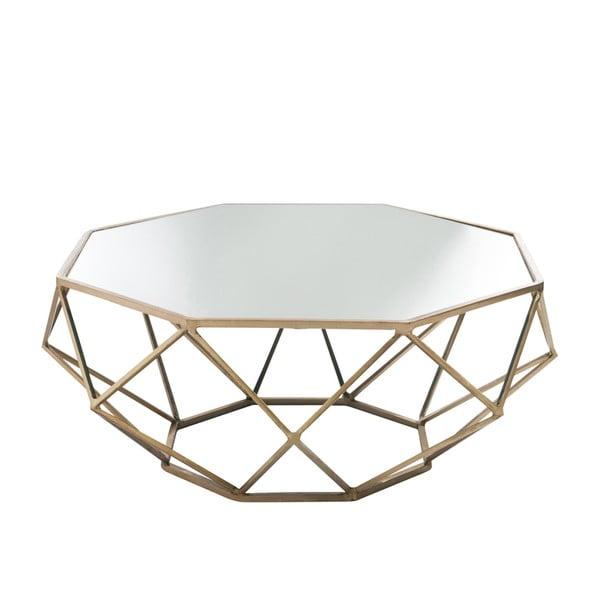 Stolik z   lustrzanym blatem Geometry Ø91 cm, złoty