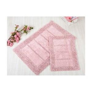 Zestaw 2 różowych dywaników łazienkowych Irya Home Vesta, 60x100 cm i 40x60 cm