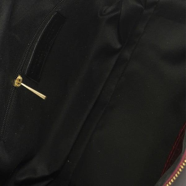 Bordowa skórzana torebka Lisa Minardi Coccodrillo Mini