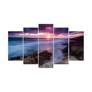 5-częściowy obraz Lila Sea, 60x100 cm