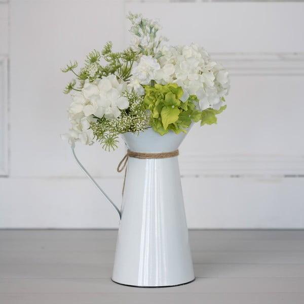 Metalowy dzbanek ze sztucznymi kwiatami Queen Anne, 50 cm
