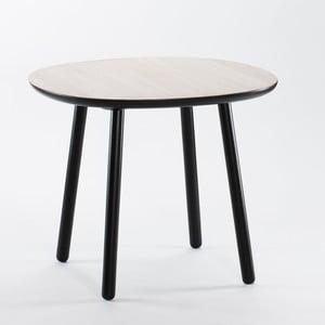 Czarno-biały stół do jadalni z litego drewna EMKO Naïve, 90 cm