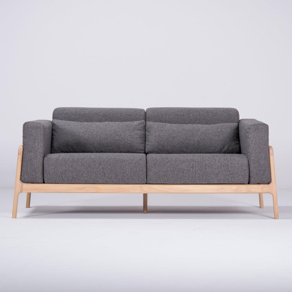 Ciemnoszara sofa z konstrukcją z litego drewna dębowego Gazzda Fawn, 180 cm