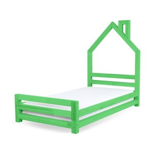 Zielone łożko dziecięce z drewna sosnowego Benlemi Wally,80x160cm