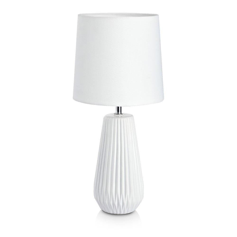 Biała lampa stołowa Markslöjd Nicci, ø 19 cm