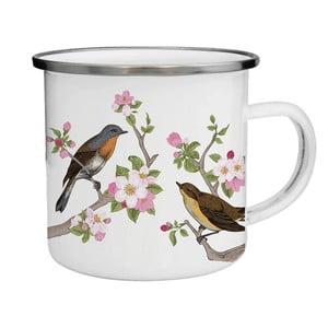 Kubek emaliowany w ptaki i kwiaty TinMan, 200 ml
