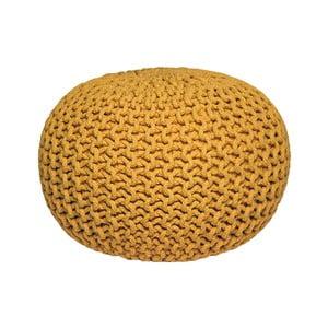Żółty puf dziergany LABEL51 Knitted