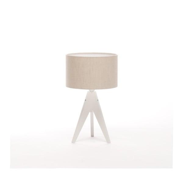 Kremowa lampa stołowa 4room Artist, biała lakierowana brzoza, Ø 25 cm