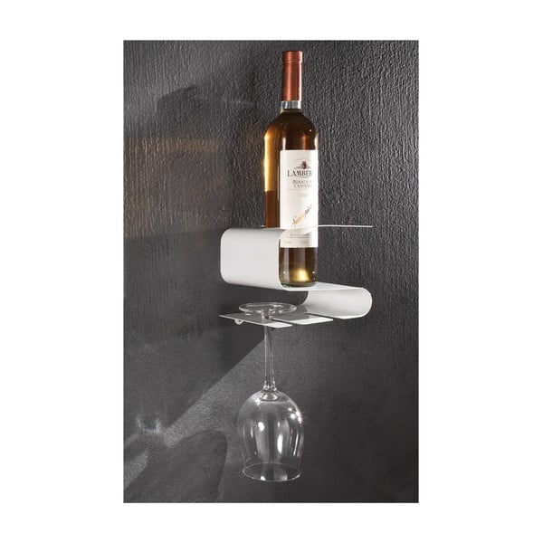 Biała wisząca półka na wino i 2 kieliszki Tomasucci Osteria