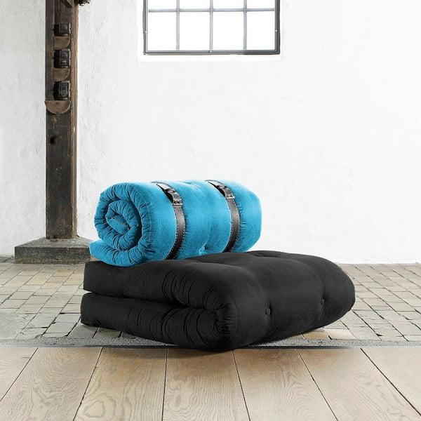 Fotel rozkładany Karup Buckle Up Black/Horizon Blue