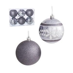Zestaw 6 szarych bombek świątecznych Ixia Tradition