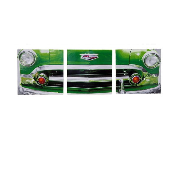 Obraz na drewnie Green Vintage Car, 30x93 cm