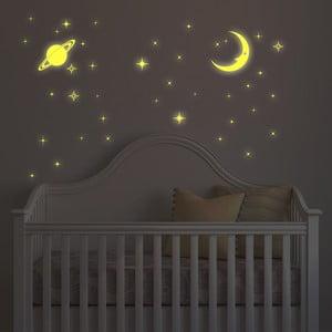 Naklejka świecąca w ciemności Walplus Księżyc i gwiazdy