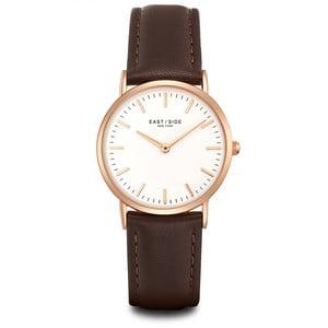 Zegarek damski z brązowym skórzanym paskiem i cyferblatem w kolorze różowego złota Eastside East Village