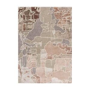 Dywan ręcznie haftowany Linie Design Pazzo Earth, 140x200 cm