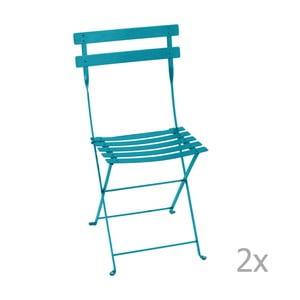 Zestaw 2 niebieskich składanych krzeseł ogrodowych Fermob Bistro