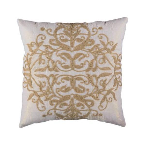 Poszewka na poduszkę, kremowa ze złotymi nitkami