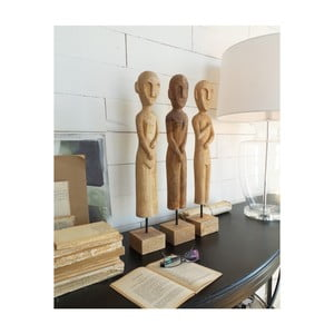 Zestaw 3 dekoracji z litego drewna mangowego Orchidea Milano Sculptures