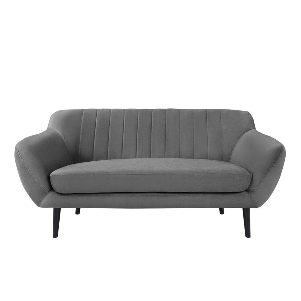Szara sofa 2-osobowa z czarnymi nogami Mazzini Sofas Toscane