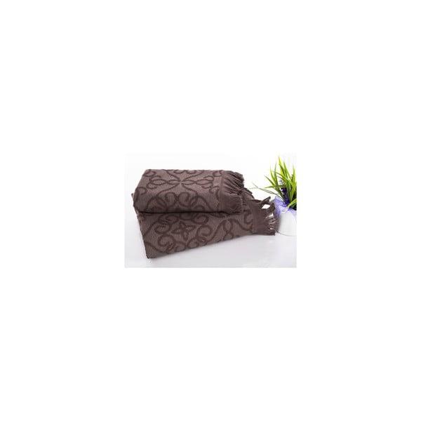 Komplet ręczników hamam Harem Brown, 50x90 oraz 70x150 cm