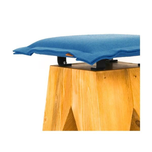 Drewniany stołek Low, niebieski
