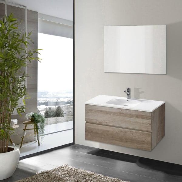 Szafka do łazienki z umywalką i lustrem Flopy, motyw dębu, 80 cm