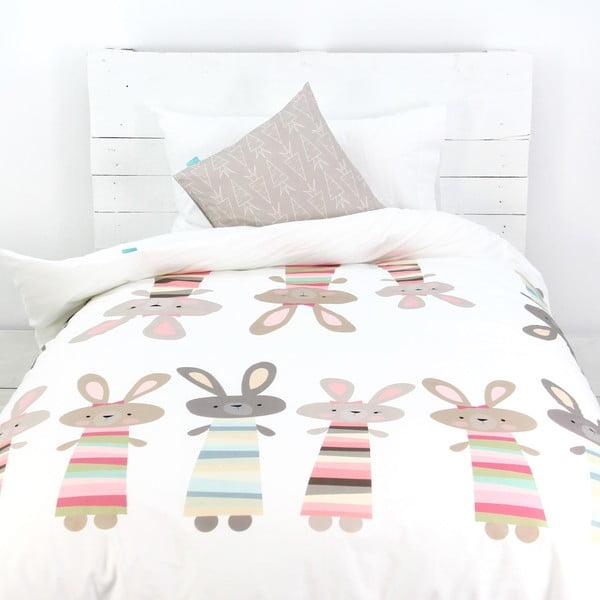 Poszwa na kołdrę i poduszkę Little Rabbits, 140x200 cm