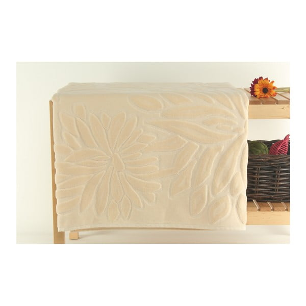 Kremowych dywanik łazienkowy ze 100% bawełnianego aksamitu Mat, 90x150 cm