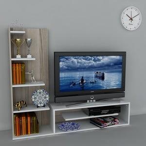 Stolik telewizyjny z regałem Sleek White/Cordoba, 29,5x160x121,8 cm