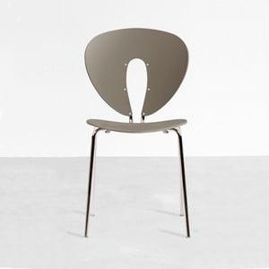 Szare krzesło z błyszczącymi nogami Globus