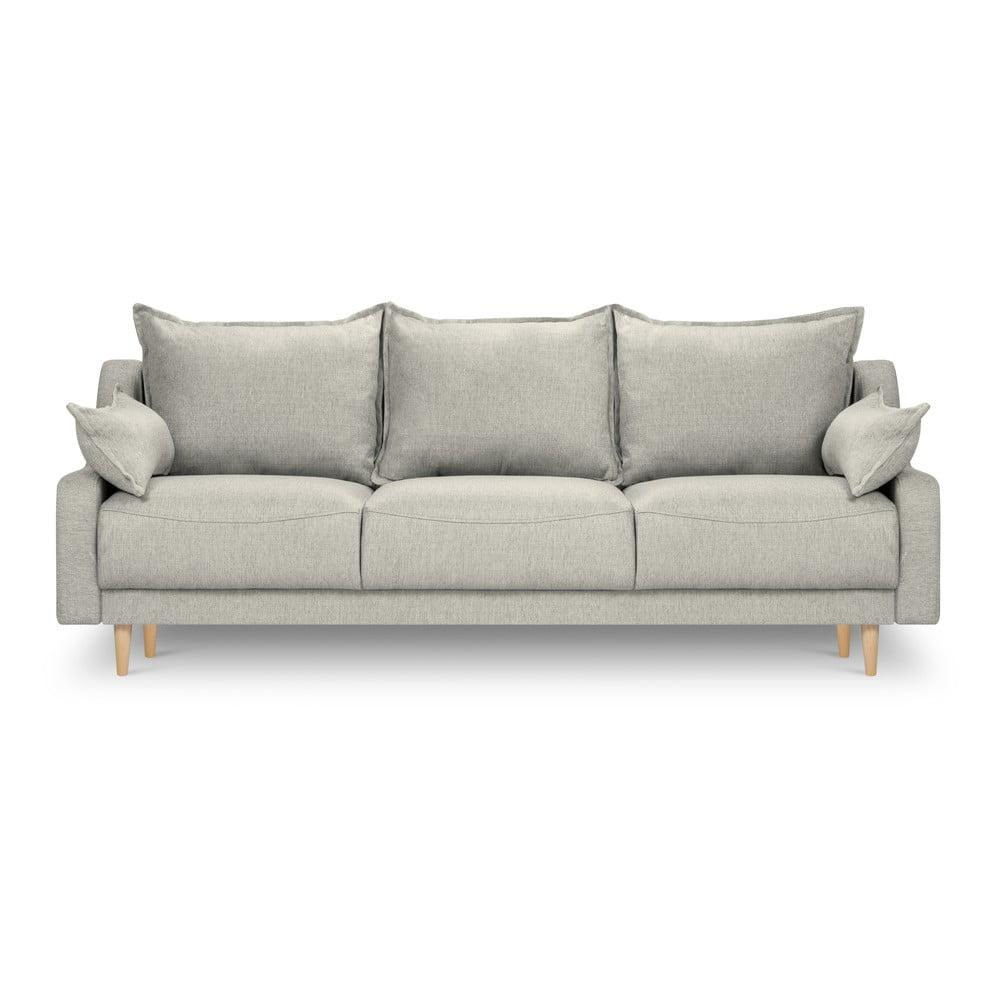 Jasnoszara rozkładana sofa ze schowkiem Mazzini Sofas Freesia