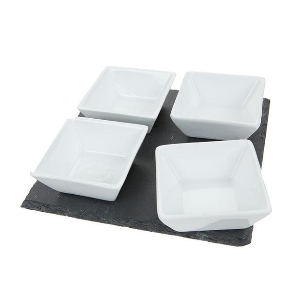 Deska łupkowa do serwowania z 4 miseczkami Dip