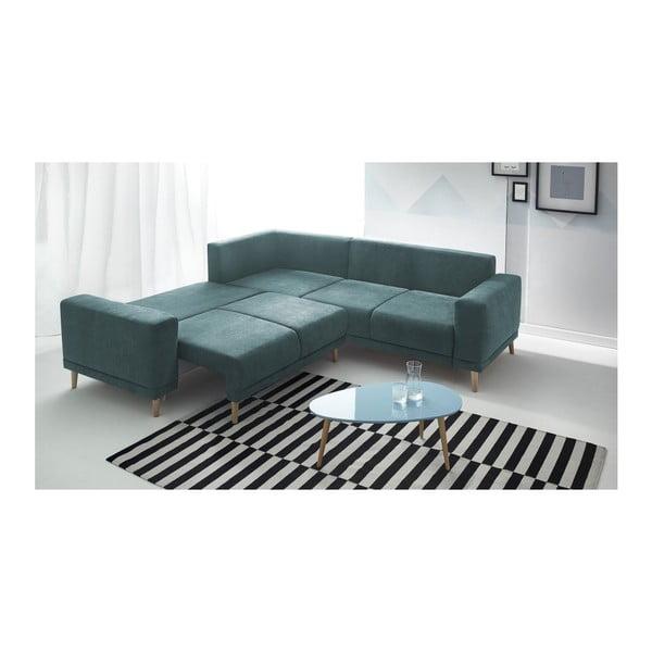 Niebieska sofa rozkładana z podnóżkiem Bobochic Paris Luna