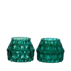 Zestaw 2 zielonych świeczników J-Line Abstract
