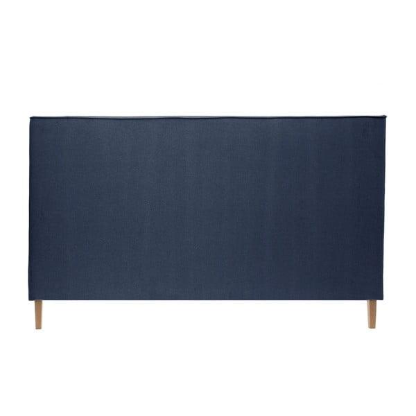 Granatowe łóżko z naturalnymi nóżkami Vivonita Kent, 140x200 cm