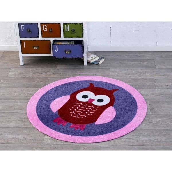 Fioletowy dywan dziecięcy Hanse Home Sowa, ⌀100cm