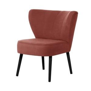 Brzoskwiniowy fotel z czarnymi nogami My Pop Design Hamilton