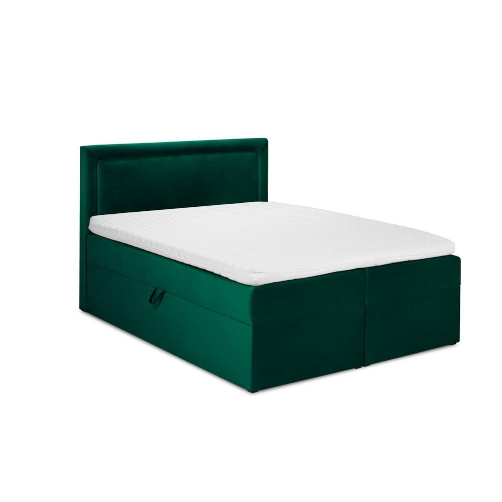 Zielone aksamitne łóżko 2-osobowe Mazzini Beds Yucca, 160x200 cm