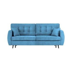 Niebieska 3-osobowa sofa rozkładana ze schowkiem Cosmopolitan design Rotterdam, 231x98x95 cm