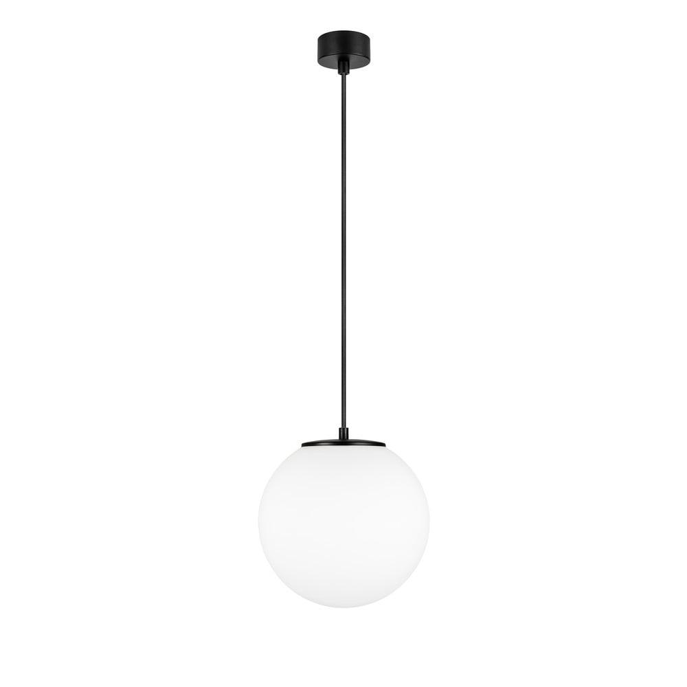 Biała lampa wisząca z oprawką w czarnym kolorze Sotto Luce TSUKI M