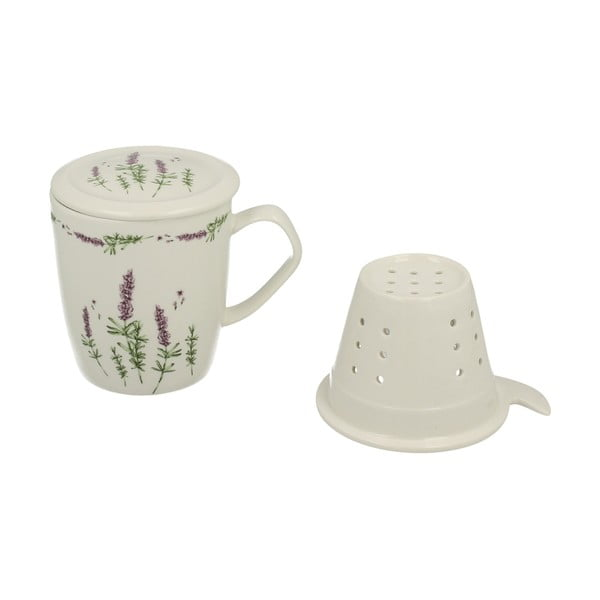 Porcelanowy kubek z sitkiem i pokrywką Duo Gift Lavender, 400ml