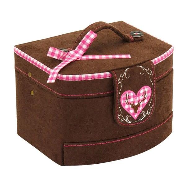 Szkatułka na biżuterię Bagvaria Brown/Pink, 16x13x11,5 cm