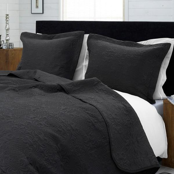 Antracytowa narzuta na łóżko z 2 poszewkami na poduszki Dreamhouse Clara 260x250cm