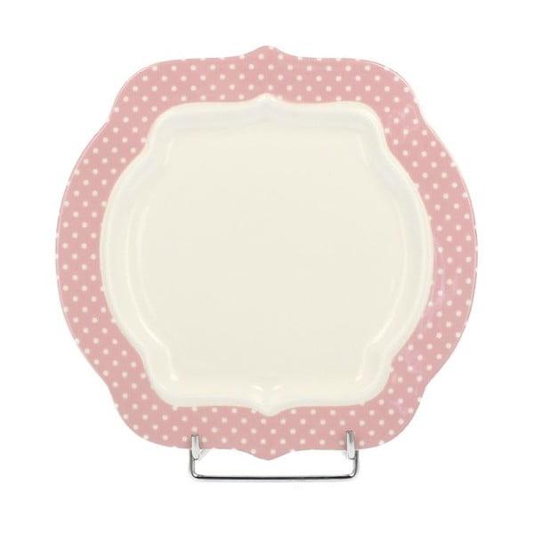 Porcelanowy talerzyk deserowy Retro Pink, 21 cm