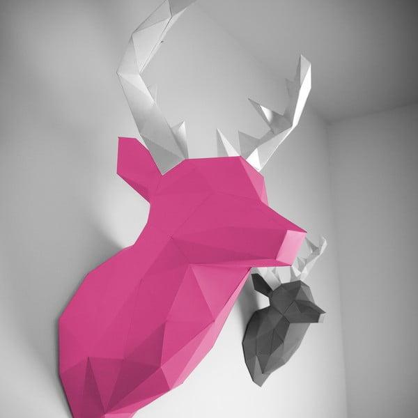 Papierowe poroże Jeleń XL, różowo-białe